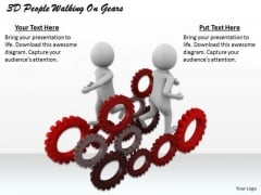 Develop Business Strategy 3d People Walking On Gears Basic Concepts
