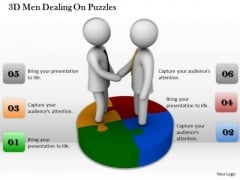 Developing Business Strategy 3d Men Dealing On Puzzles Character