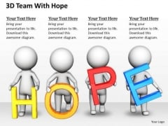 Developing Business Strategy 3d Team With Hope Concept