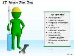 Developing Business Strategy 3d Worker With Tools Character Models