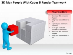 Diagram Business Process 3d Man People With Cubes Render Teamwork PowerPoint Templates