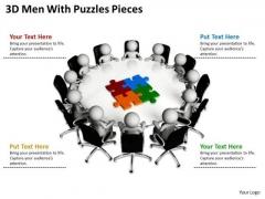Diagram Business Process 3d Man With Puzzle Pieces PowerPoint Slides