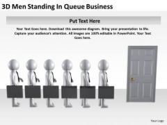 Diagram Business Process 3d Men Standing Queue PowerPoint Slides