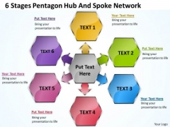 Diagram Of Business Cycle 6 Stages Pentagon Hub And Spoke Network PowerPoint Slides