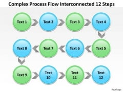 Diagram Of Business Cycle Complex Process Flow Interconnected 12 Steps PowerPoint Templates