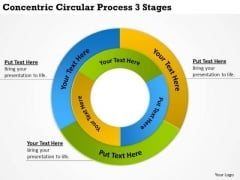 Diagram Of Business Cycle Concentric Circular Process 3 Stages PowerPoint Templates