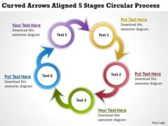 Diagram Of Business Cycle Curved Arrows Aligned 5 Stages Circular Process PowerPoint Templates