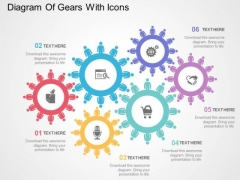 Diagram Of Gears With Icons PowerPoint Templates