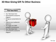 Diagram Of The Business Cycle 3d Man Giving Gift To Other PowerPoint Slides