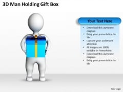 Diagram Of The Business Cycle 3d Man Holding Gift Box PowerPoint Slides