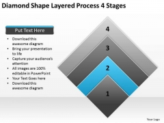 Diamond Shape Layered Process 4 Stages Ppt Business Plan PowerPoint Templates