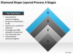 Diamond Shape Layered Process 4 Stages Ppt Business Planning Software PowerPoint Slides