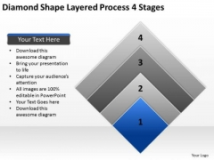Diamond Shape Layered Process 4 Stages Professional Business Plan Template PowerPoint Slides