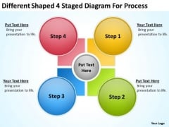 Different Shaped 4 Staged Diagram For Process Ppt Business Plan Download PowerPoint Templates