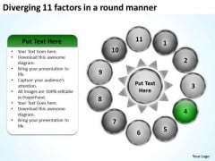 Diverging 11 Factors Round Manner Business Circular Process Chart PowerPoint Templates