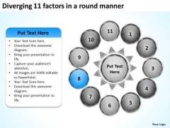 Diverging 11 Factors Round Manner Business Radial Process PowerPoint Slides