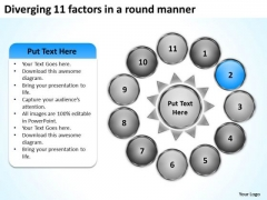 Diverging 11 Factors Round Manner Circular Flow Layout Chart PowerPoint Slides