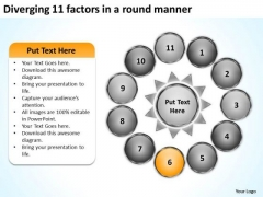 Diverging 11 Factors Round Manner Circular Flow Motion Diagram PowerPoint Slides