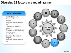 Diverging 11 Factors Round Manner Circular Motion Diagram PowerPoint Slides