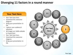 Diverging 11 Factors Round Manner Circular Process Chart PowerPoint Templates