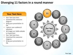 Diverging 11 Factors Round Manner Circular Spoke Chart PowerPoint Slides