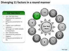 Diverging 11 Factors Round Manner Ppt Circular Flow Process PowerPoint Templates