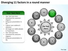 Diverging 11 Factors Round Manner Radial Diagram PowerPoint Templates