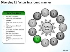 Diverging 11 Factors Round Manner Radial Process PowerPoint Slides