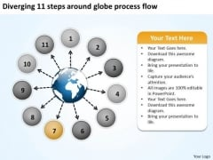 Diverging 11 Steps Around Globe Process Flow Circular Arrow Network PowerPoint Templates