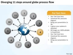 Diverging 11 Steps Around Globe Process Flow Circular Motion Diagram PowerPoint Templates