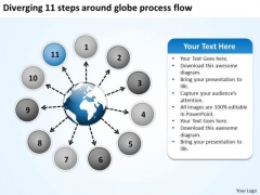 Diverging 11 Steps Around Globe Process Flow Radial Chart PowerPoint Slides