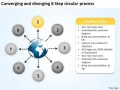 Diverging 8 Step Circular Process Ppt 2 Relative Flow Arrow Chart PowerPoint Templates