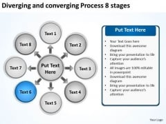 Diverging And Converging Process 8 Stages Circular Chart PowerPoint Templates