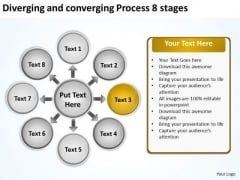 Diverging And Converging Process 8 Stages Cycle Layout Diagram PowerPoint Slides