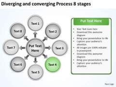 Diverging And Converging Process 8 Stages Target Chart PowerPoint Slides