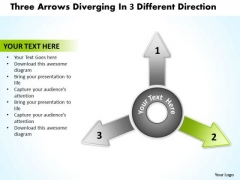 Diverging Arrows Pointing Direction Circular Layout Network PowerPoint Templates