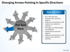 Diverging Arrows Pointing Specific Directions Cycle Process PowerPoint Slide