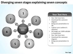 Diverging Seven Stages Explaining Concepts Business Target Process PowerPoint Templates