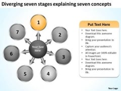 Diverging Seven Stages Explaining Concepts Circular Arrow Process PowerPoint Slides