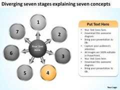 Diverging Seven Stages Explaining Concepts Cycle Layout Network PowerPoint Templates