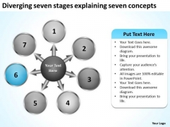 Diverging Seven Stages Explaining Concepts Target Diagram PowerPoint Templates