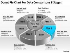 Donut Pie Chart For Data Comparisons 8 Stages Business Action Plan PowerPoint Templates