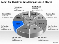 Donut Pie Chart For Data Comparisons 8 Stages Business Plan Examples PowerPoint Templates