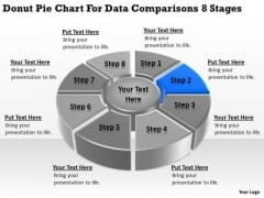 Donut Pie Chart For Data Comparisons 8 Stages Business Plans PowerPoint Templates