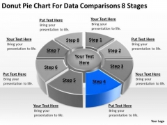 Donut Pie Chart For Data Comparisons 8 Stages Example Business Plan PowerPoint Slides