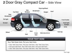 Driving Effortless 2 Door Gray Car Side PowerPoint Slides And Ppt Diagram Templates