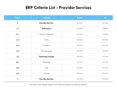 ERP Criteria List Provider Services Ppt PowerPoint Presentation Show Clipart Images
