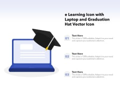 E Learning Icon With Laptop And Graduation Hat Vector Icon Ppt PowerPoint Presentation File Designs Download PDF