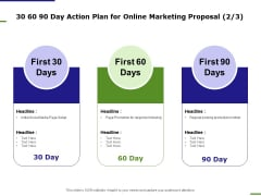 E Marketing 30 60 90 Day Action Plan For Online Marketing Proposal Ppt Infographics Mockup PDF