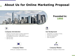 E Marketing About Us For Online Marketing Proposal Ppt Inspiration Themes PDF